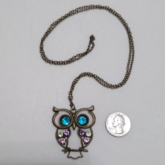 Jewelry large owl crystal pendant necklace poshmark large owl crystal pendant necklace aloadofball Images